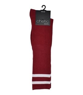 جوراب زیر زانو Chetic زرشکی خط دار سفید