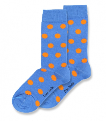 جوراب ساقدار داینو ساکس طرح خال خالی آبی نارنجی