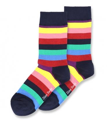 جوراب ساقدار داینو ساکس طرح رنگین کمان سرمهای