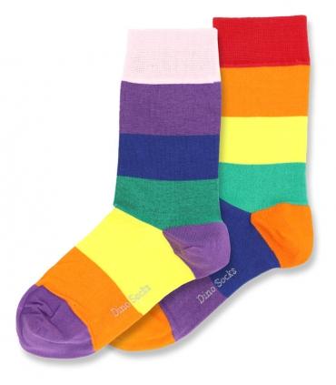 جوراب ساقدار داینو ساکس طرح رنگین کمان لنگه به لنگه