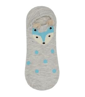 جوراب مچی گوشدار طرح روباه خالخالی آبی