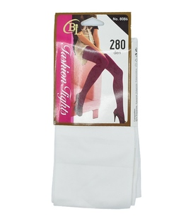 جوراب شلواری ساده سفید ضخامت ۲۸۰