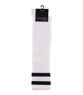 جوراب زیر زانو Chetic چتیک سفید با خط سیاه