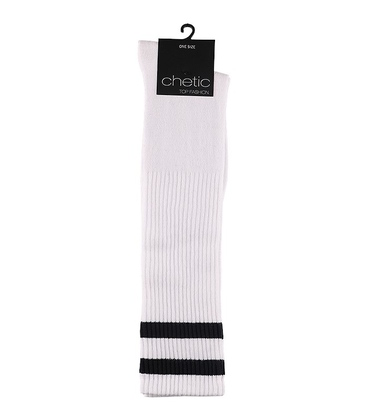 جوراب زیر زانو Chetic سفید با خط سیاه