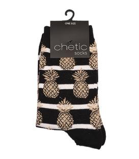 جوراب Chetic چتیک ساق بلند طرح آناناس مشکی طلایی