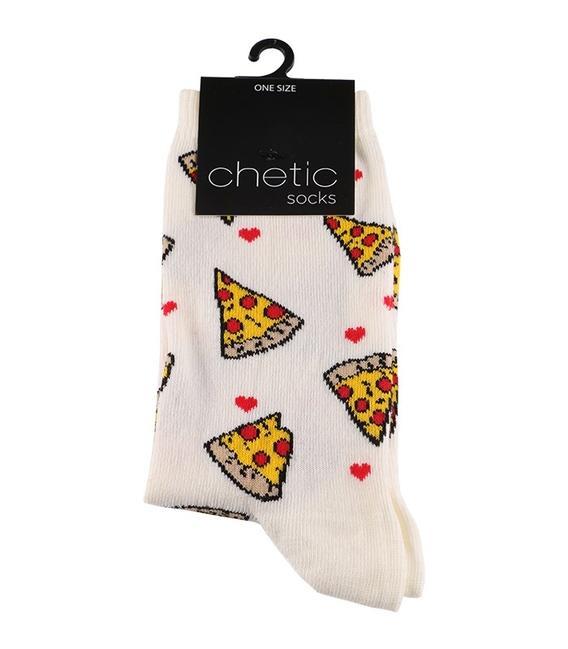 جوراب ساق دار Chetic طرح پیتزا سفید