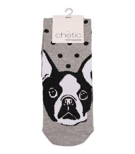 جوراب Chetic چتیک ساق بلند طرح Boston Terrier خاکستری