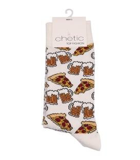 جوراب ساقدار Chetic چتیک طرح پیتزا و دلستر سفید
