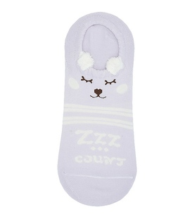 جوراب قوزکی گوشدار طرح خرس خوابالو یاسی