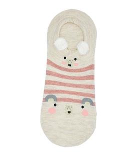 جوراب قوزکی گوشدار طرح دو موش کرم خط صورتی