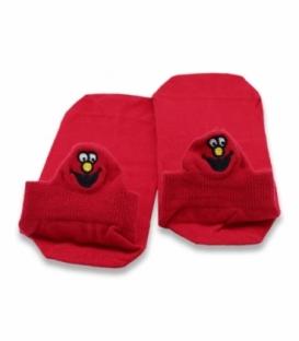 جوراب مچی Ekmen اکمن طرح گلدوزی صورتک خنده قرمز