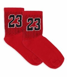 جوراب نیم ساق Ekmen اکمن طرح خال خالی 23 مشکی قرمز