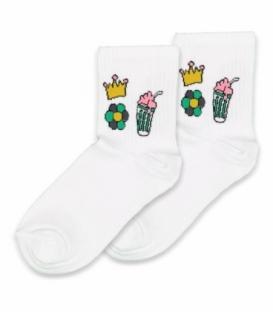 جوراب نیم ساق Ekmen اکمن طرح گل و تاج سفید