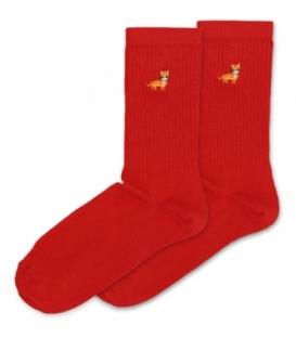 جوراب ساقدار Ekmen اکمن طرح گلدوزی گربه قرمز