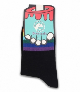 جوراب ساقدار داینو ساکس طرح رنگین کمان مشکی
