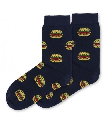 جوراب ساقدار داینو ساکس طرح همبرگر سرمهای