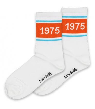 جوراب ساقدار داینو ساکس طرح سه خط 1975 سفید