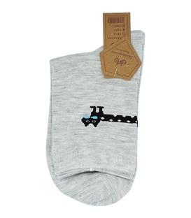 جوراب نیم ساق طرح گربه سوسیسی خاکستری