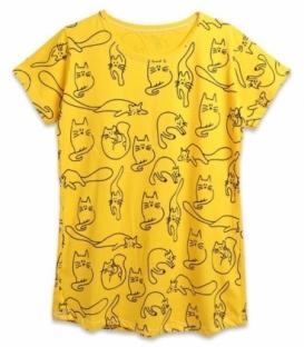 تیشرت آستین کوتاه نخی You Teen یوتین کد 8750 طرح چاپی گربه زرد