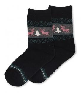 جوراب پشمی حولهای Coco & Hana طرح گوزن و کاج مشکی