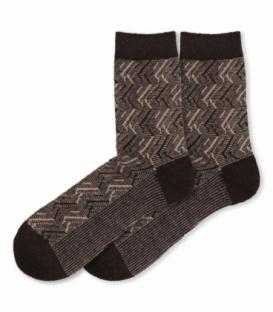 جوراب پشمی Coco & Hana ساقدار طرح خط دار قهوهای