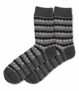 جوراب پشمی Coco & Hana ساقدار طرح راه راه خاکستری