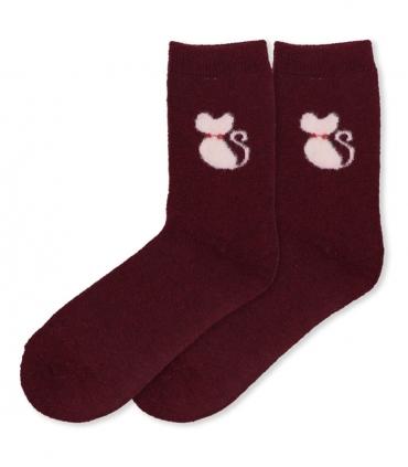 جوراب پشمی حولهای Coco & Hana ساقدار طرح گربه پشمالو زرشکی