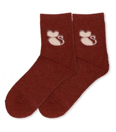 جوراب پشمی حولهای Coco & Hana ساقدار طرح گربه پشمالو آجری