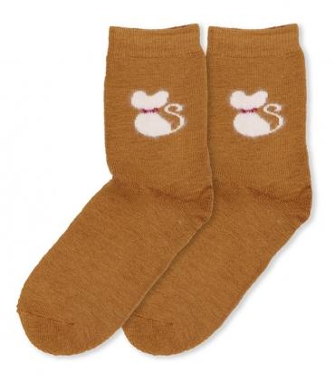 جوراب پشمی حولهای Coco & Hana ساقدار طرح گربه پشمالو نسکافهای