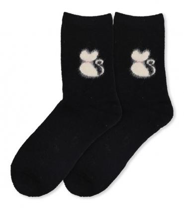 جوراب پشمی حولهای Coco & Hana ساقدار طرح گربه پشمالو مشکی