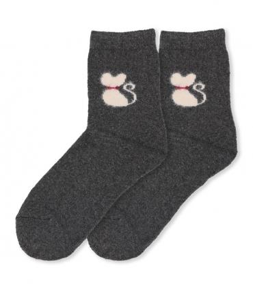 جوراب پشمی حولهای Coco & Hana ساقدار طرح گربه پشمالو خاکستری