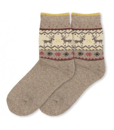 جوراب پشمی حولهای Coco & Hana ساقدار طرح گوزن و شکوفه خاکی