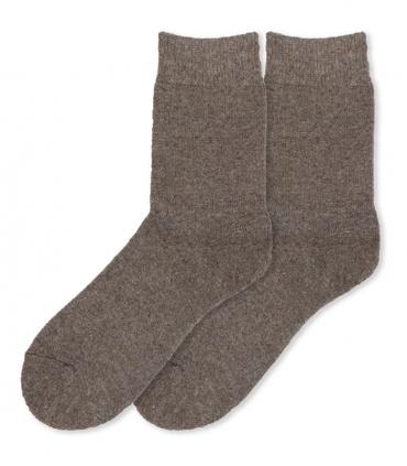 جوراب پشمی حولهای آنگورا Coco & Hana ساقدار ساده خاکی