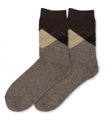 جوراب پشمی حولهای Coco & Hana ساقدار طرح آرگایل B خاکی