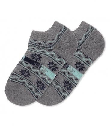 جوراب پشمی حولهای مچی طرح شکوفه خاکستری