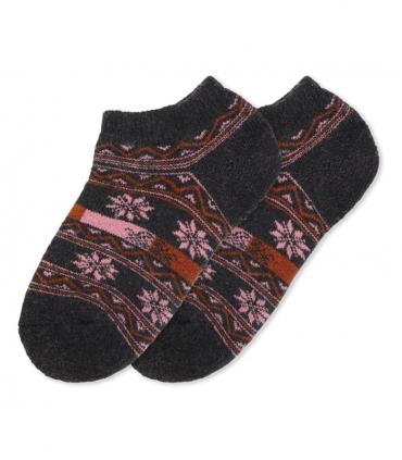 جوراب پشمی حولهای مچی طرح شکوفه دودی