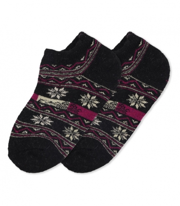 جوراب پشمی حولهای مچی طرح شکوفه مشکی