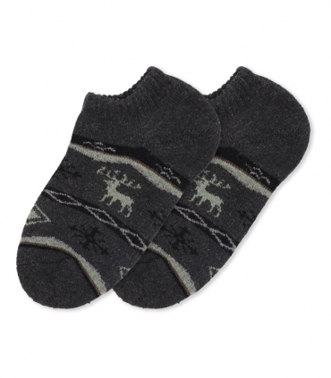 جوراب پشمی حولهای مچی طرح گوزن و برف دودی