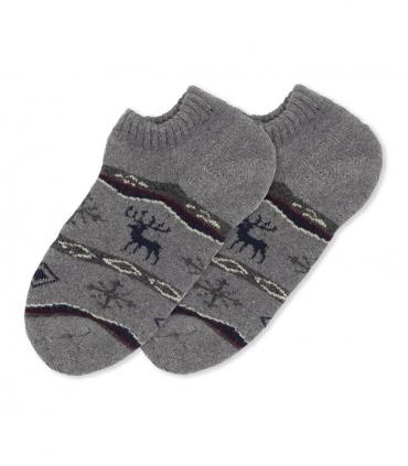 جوراب پشمی حولهای مچی طرح گوزن و برف خاکستری