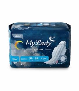 نوار بهداشتی بالدار نیمه ضخیم مشبک MyLady مای لیدی مدل Maxi Night خیلی بزرگ کد 699 - بسته 10 عددی