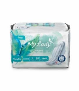 نوار بهداشتی بالدار نیمه ضخیم کتان MyLady مای لیدی مدل Maxi Sensitive بزرگ کد 697 - بسته 10 عددی
