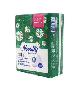نوار بهداشتی بالدار خیلی نازک کتانی معطر Novelty ناولتی مدل Ultra خیلی بزرگ ویژه شب - بسته 8 عددی