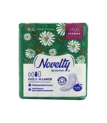 نوار بهداشتی بالدار ضخیم کتانی معطر Novelty ناولتی مدل Maxi خیلی بزرگ ویژه شب - بسته 8 عددی