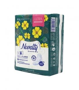 نوار بهداشتی بالدار خیلی نازک مشبک معطر Novelty ناولتی مدل Ultra خیلی بزرگ ویژه شب - بسته 8 عددی