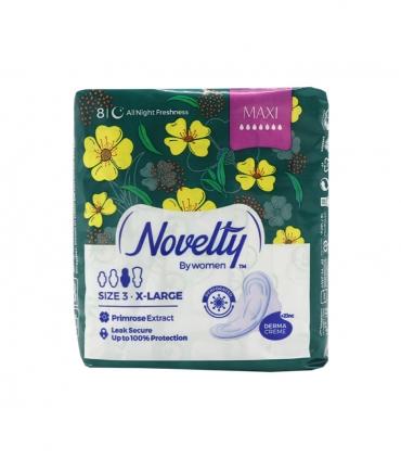 نوار بهداشتی بالدار ضخیم مشبک معطر Novelty ناولتی مدل Maxi خیلی بزرگ ویژه شب - بسته 8 عددی