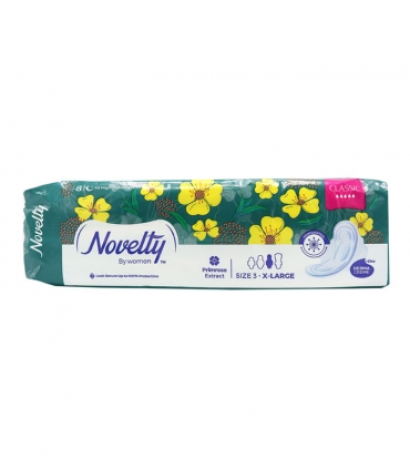 نوار بهداشتی بالدار بسیار ضخیم مشبک معطر Novelty ناولتی مدل Classic خیلی بزرگ ویژه شب - بسته 8 عددی