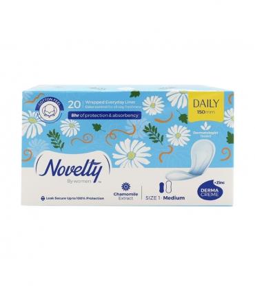 پد بهداشتی روزانه خیلی نازک کتانی معطر Novelty ناولتی متوسط - بسته 20 عددی
