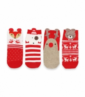 پک جوراب مچی گوشدار طرح کریسمسی - ۴ جفت