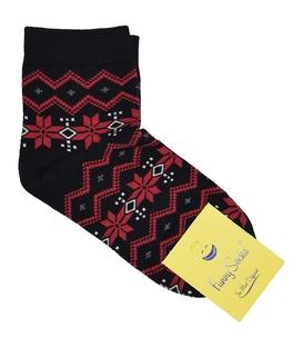 جوراب فانی ساکس نیم ساق زنانه طرح هندسی مشکی و قرمز کد 813