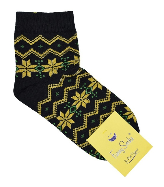 جوراب فانی ساکس نیم ساق زنانه طرح هندسی مشکی و زرد کد 813